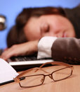 Sleepy white collar Stock Photography