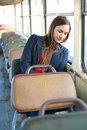 Sleepy woman resting in bus vintage Royalty Free Stock Photo