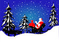 Sleigh with santa claus Stock Images