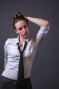 Slender Feminine Female Wearing Black Tie Royalty Free Stock Photo