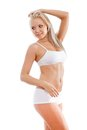 Slender woman wearing white underwear Royalty Free Stock Image