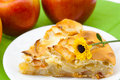 Slice of apple pie apple and a flower Royalty Free Stock Photo
