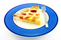 Slice of Apple and Strawberry Pie with a Fork Royalty Free Stock Photo