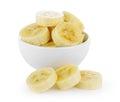 Slice banana in bowl Royalty Free Stock Photo