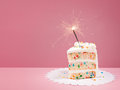 Slice of Birthday Cake with Sparkler Royalty Free Stock Photo