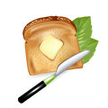 Slice of bread with butter and knife isolated Royalty Free Stock Image