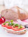 A slice of bread covered with tomatoes and cream cheese Royalty Free Stock Images