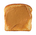 Slice of bread with peanut butter on white background Stock Photo