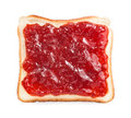 Slice of bread with strawberry jam Stock Photo
