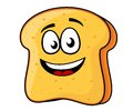 Slice of bread or toast with a beaming smile vector cartoon illustration happy isolated on white Stock Photo