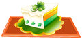 A slice of cake for the celebration of st patrick s day illustration on white background Stock Photo