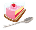 A slice of cake and a tablespoon illustration on white background Stock Photography