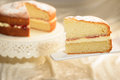 Slice of cake a victoria sponge with cut in the background Royalty Free Stock Photos