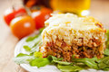 Slice of casserole with brown rice and meat Stock Images