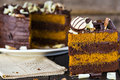Slice of chocolate and toffee layer cake Royalty Free Stock Photo