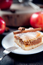 Slice of delicious apple pie photo Royalty Free Stock Photos