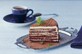 Slice of delicious chocolate cake on silver plate