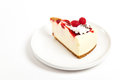 Slice delicious delicious raspberry cheesecake plate ready to eat Royalty Free Stock Photo