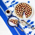slice of delicious homemade sour cherry pie on plate. Royalty Free Stock Photo