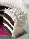 Slice Of Devils Food Cake With Marshmallow Stock Photo