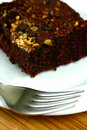 A slice of double bake nut brownie Royalty Free Stock Photos