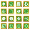 Slice food ingredient icons set green