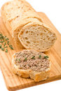 Slice of homemade bread with pate Stock Images