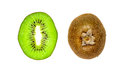 Slice of kiwi and its brown hairy outside peel fruit with green juicy flesh black seeds isolated on a white background Stock Photos