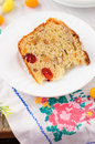 A slice of kulitch kulich russian easter sweet bread on festive embroidered table cloth copy space for your text Royalty Free Stock Photos