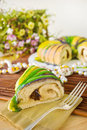 Slice of Mardi Gras King Cake Stock Photos