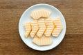 Slice of melon cantaloupe on dish Royalty Free Stock Image