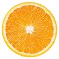Slice of orange citrus fruit isolated on white Royalty Free Stock Photo