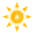 Slice of orange in the form of sun on white background Royalty Free Stock Photography