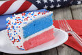 Slice of Patriotic Cake Royalty Free Stock Photo