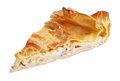 Slice of pie with curd and ham isolated on white clipping path Royalty Free Stock Photo
