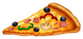 Slice of pizza on white Royalty Free Stock Photo
