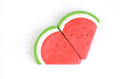Slice of plasticine watermelon Stock Photos