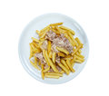 Slice pork and french fries close up Royalty Free Stock Photo