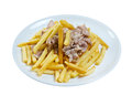 Slice pork and french fries close up Royalty Free Stock Images