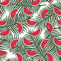 Slice of red watermelon on a green palm leaves background patter