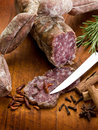 Slice salami, susage and spice Stock Photo
