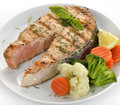 Slice Of Salmon And Vegetables Stock Images