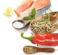 Slice Of Salmon And Wild Rice Royalty Free Stock Photos