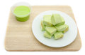 Slice steamed bread and pandan custard Stock Photos