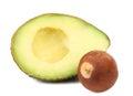 Slice and stone of avocado.