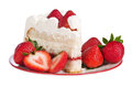 Slice of strawberry cake homemade whipped cream with strawberries on plate isolated over white Royalty Free Stock Photos