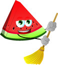 A slice of watermelon sweeping with broom