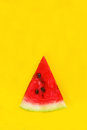 Slice of watermelon on a yellow background Royalty Free Stock Photography