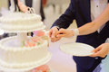 Slice of wedding cake bride and groom holding Stock Photography