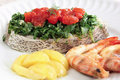 Slice of white sea bass with vegetables Stock Image